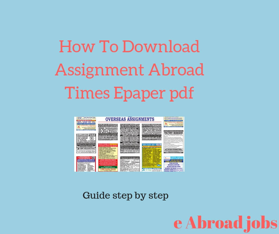 How To Download Assignment Abroad Times Epaper pdf