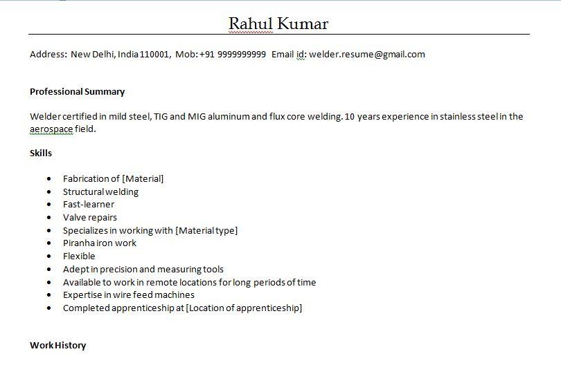 Welder Resume Sample Doc Resume Sample Welder Fabricator Luxury