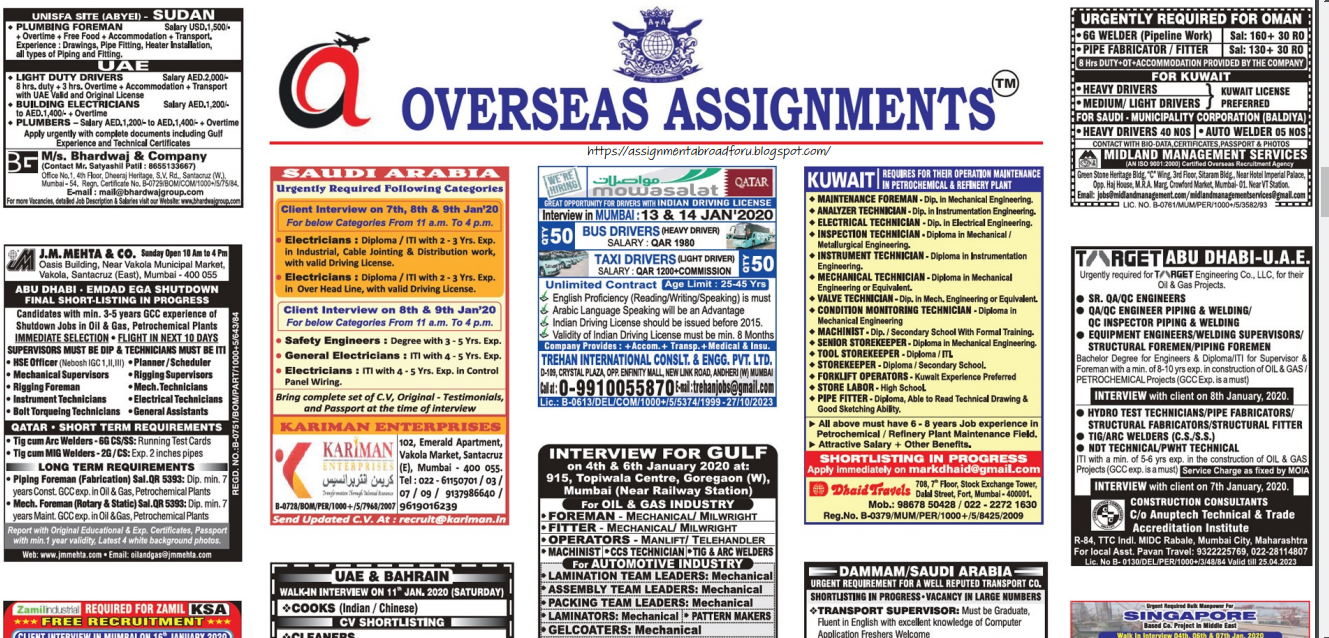 Assignment Abroad Times 8 jan 2020