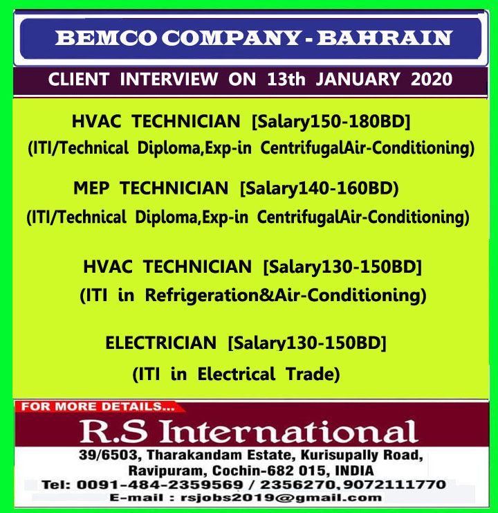 gulf jobs for bahrain