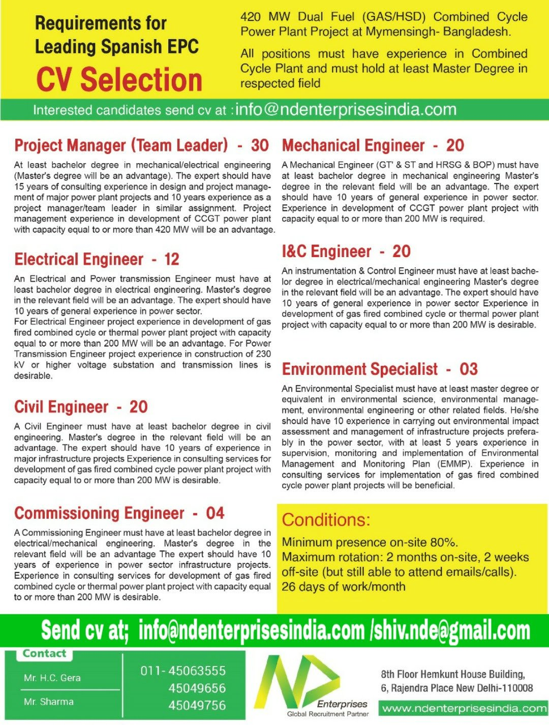 Gulf jobs assignment abroad time