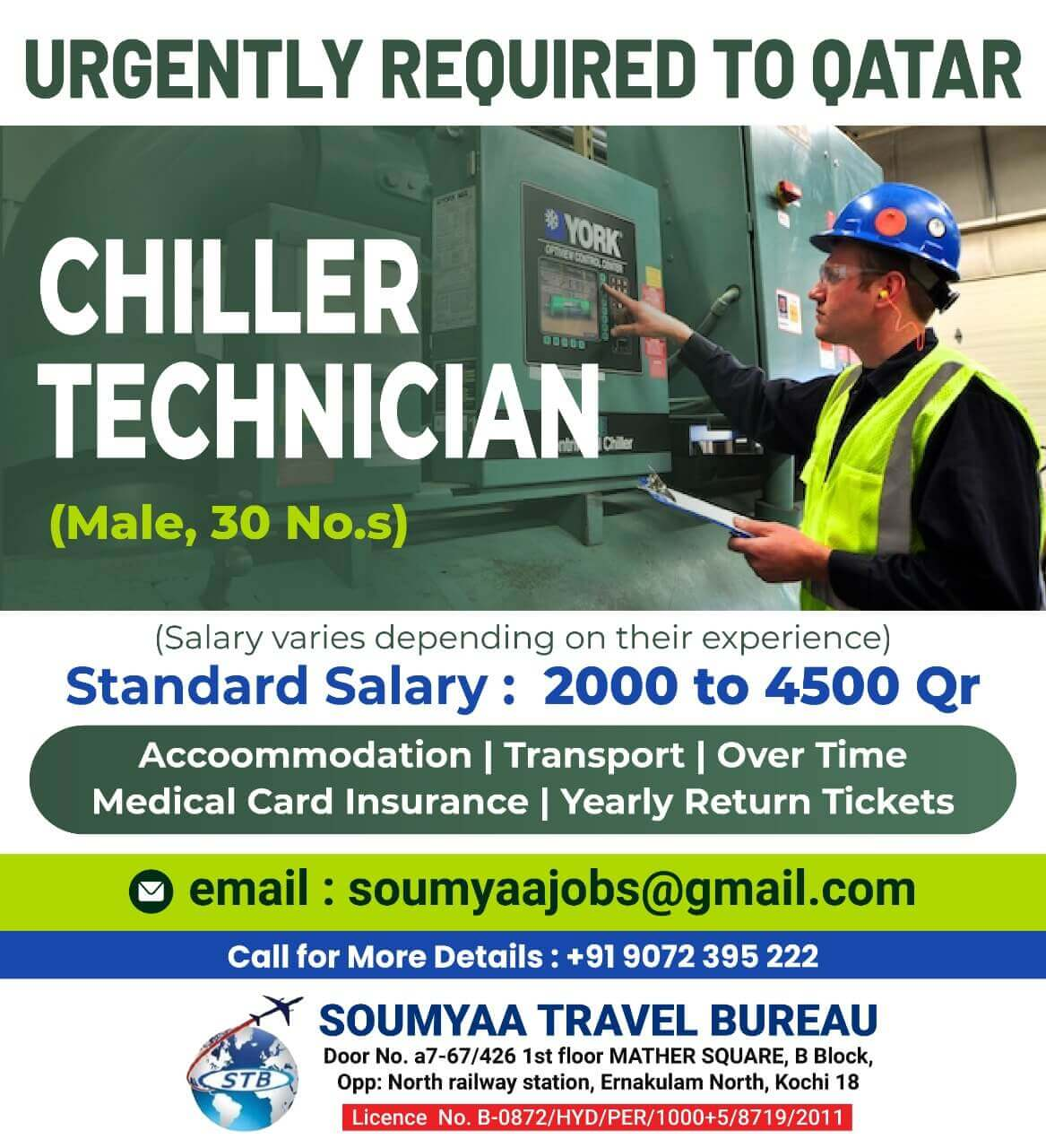Chillers technicians for qatar